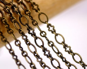 3.1 mm Antique Bronze Plated Brass Chain Bronze Chain For Necklace rc13b(3ft)