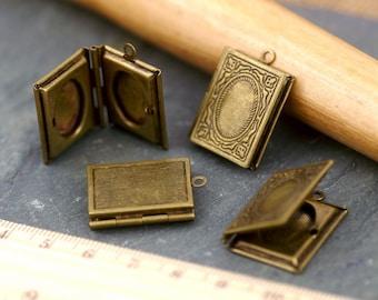 19x26mm Antique Bronze Brass Book Locket Filigree Pendant rb74b(3pcs)