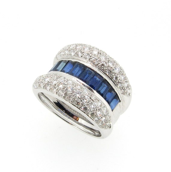 Wide Band Blue Sapphire Gemstone & Diamond Diamond by MondiNYC