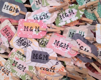 Hand Stamped Rustic Wedding Favor Tags With Clips
