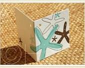 Letterpress OCEAN STARFISH [Beach / Tropical Flower] Mini Gift Tag Note Card for Wedding / Anniversary / Birthday / Favor
