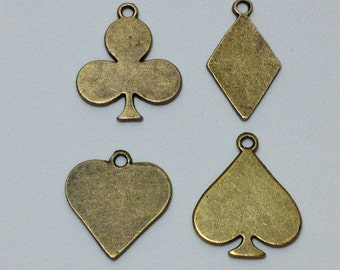 8 Mixed Playing Card Charms Antique Bronze Tone