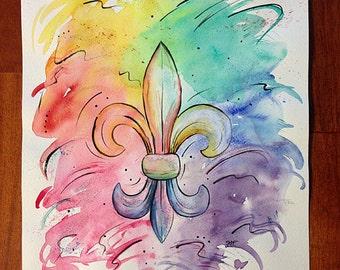 Fleur de lis Watercolor painting