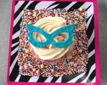 Glitter Mask Cupcake Toppers