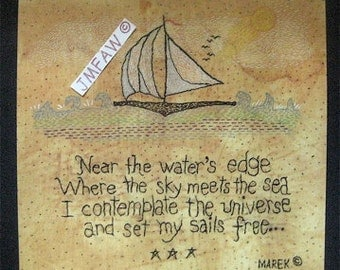 "Primitive Folk Art Print  ""NEAR the WATER'S EDGE"" Copyright Lithograph Print & Verse of Original Stitchery"