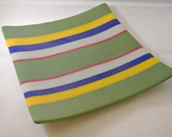 Textured fused glass dish