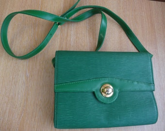 Vintage Vivid Green 1970's Handbag With Long Strap - Interesting Texture - Gorgeous!!
