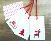 Gift Tag Set - Scandinavian Christmas - Red White Danish Decoration Moose Tree Sleigh - JulikesDesign