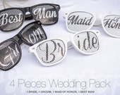 4pcs Retro Party WEDDING SUNGLASSES PACK (Bride, Groom, Maid Of Honor, Best Man)