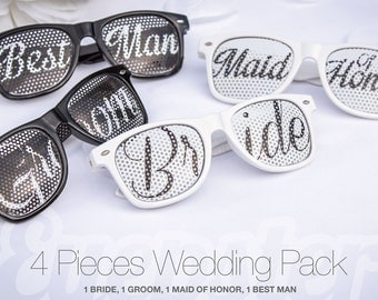 4pcs Retro Party WEDDING SUNGLASSES PACK (Bride, Groom, Maid Of Honor, Best Man)