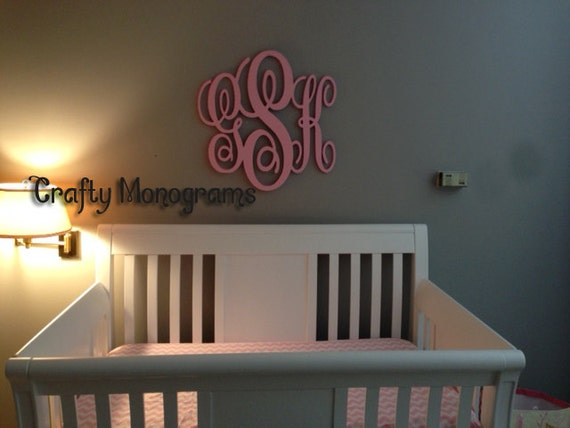 24 x 26 PAINTED Wooden Monogram Initials Wall Decor Hanging