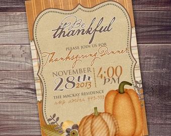 thanksgiving dinner invitation, Thanksgiving Fall Digital Invitation 5x7 (or 4x6) free customization party wording, dinner invitation,