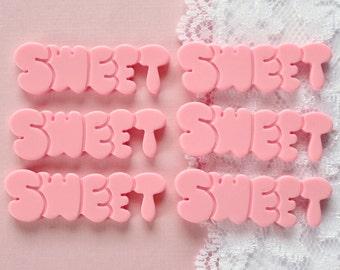 6 Pcs Sweet Word Cabochons - 43x10mm