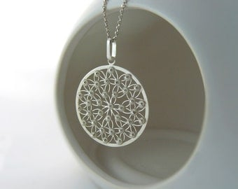 Circle flower of life silver filigree necklace, simple wedding jewelry, elegant minimal design