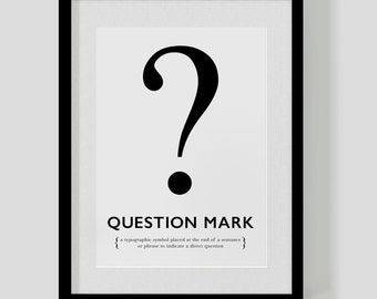 QUESTION MARK ? poster print – custom colours – designer definition – typographic poster – Free Worldwide Shipping