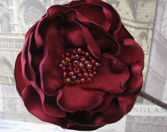Dark Red Flower Hairclip with Seed Bead Center- Handcrafted