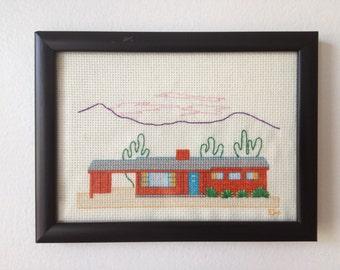 Mid Century Desert Ranch House Cross Stitch