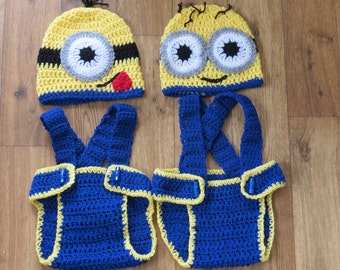 Hand crocheted Minion hat & nappy cover set - photo prop