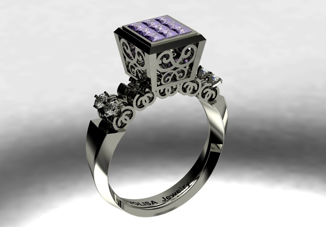 14 k White Gold Unique Proposal Ring with Amethysts and