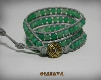 3  Wrap Women's Leather Bracelet with  Dream Fire Dragon Veins Agate beads ,Boho wrap bracelet.