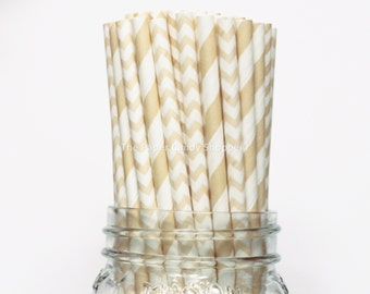 Ivory Cream Paper Straws, 25 Chevron and Stripe Paper Straws, Wedding Table Setting, Baby Shower, Kids Birthday, Beige Wedding Made in USA