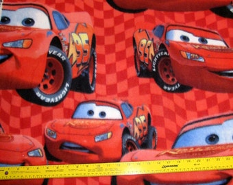 Disney Cars Lightning McQueen Fleece Fabric BTY RARE