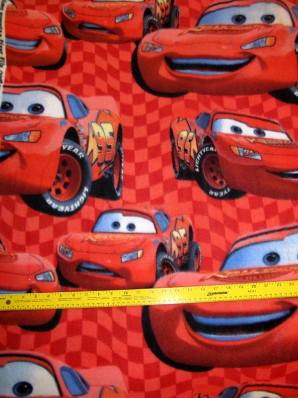 disney cars lightning mcqueen fleece fabric bty rare. Black Bedroom Furniture Sets. Home Design Ideas