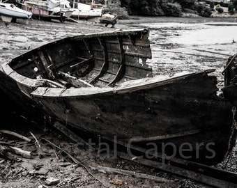 Cornwall Photograph, Fine Art signed  Print of a dilapidated boat on the Helford river, Cornwall, UK