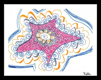 "Art Card with envelope, ""Starwish,"" by Rielle 5 1/2"" x 4 1/4"""