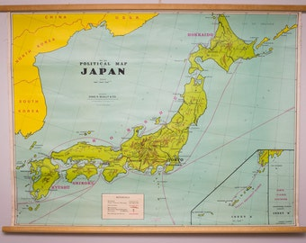 Vintage, cloth, canvas political map of Japan (circa 1960's)
