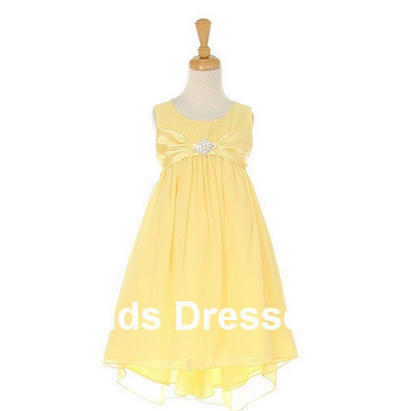 Yellow chiffon flower girl dress, baby flower girl Dress, flower girl dress wedding,flower girl dress new, cheap wedding flower girl dress