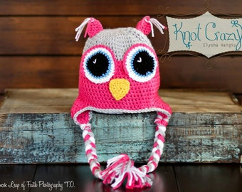 Hooter Hat made to order in sizes newborn to adult