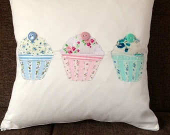 Handmade Appliqued Cupcake Trio Cushion