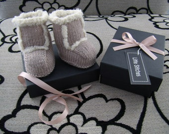 Knitted Baby Ugg Style Boots - Beige