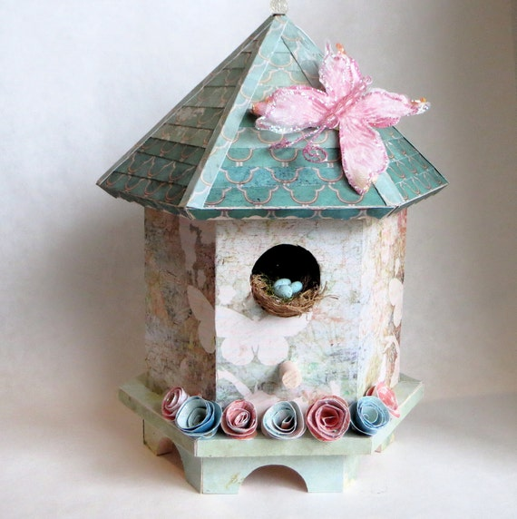 Mixed Media Birdhouse Decorative Art Birdhouse Pastel Birdhouse Turquoise Bird House Decorative