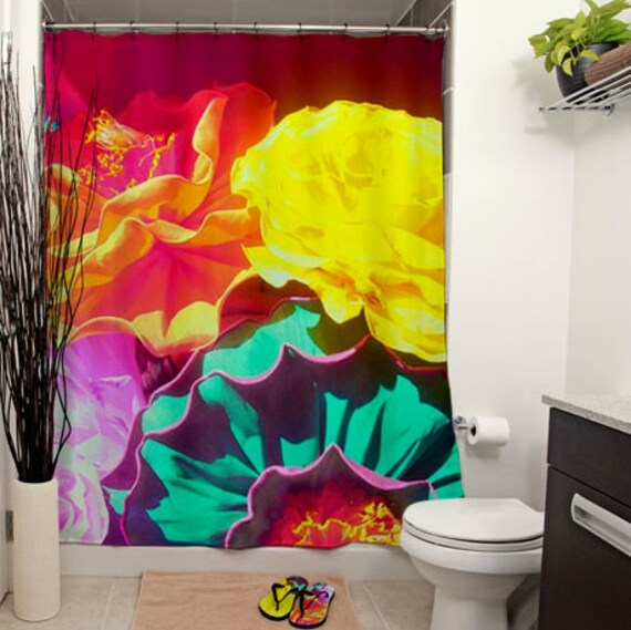 Flores Printed Shower Curtain, Bathroom Decor, Curtain