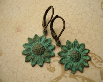 Sunflowers - Summertime Sunflower Earrings with Verdigris Green Patina in Antiqued Brass