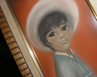 """Mexican Boy Pastel Painting, by Barbara Joan Smith   17 1/2"""" X 8 3/4"""""""