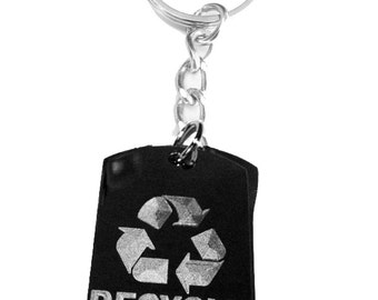 Reduce Recycle Reuse Save Mother Earth Logo Symbols - Metal Ring Key Chain RECYCLE