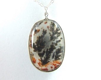 Black Plume Agate and Sagenite Stone Sterling Silver Necklace or Pendant 57