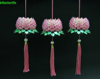Lot of 3pcs Velvet Pink Origami Hanging Lotus. (RS paper series).