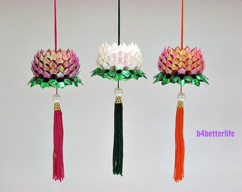 Lot of 3pcs Mini Size Origami Hanging Lotus In 3 Different Colors. (TX paper series). #FLT-137.