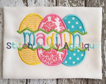 Split Easter Eggs Machine Applique Design