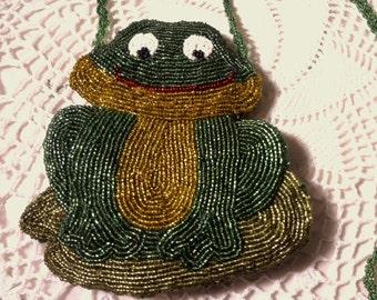 Beaded Frog Purse