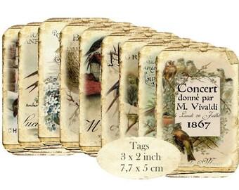 Vintage Birds Tags Instant Download digital collage sheet T119 digital Birds Dove Swallows
