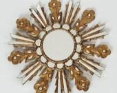 RESERVED 1900s Golden Sun Mirror / Starburst Wood Carved Mirror / 19th Century Antique Decor Mirror