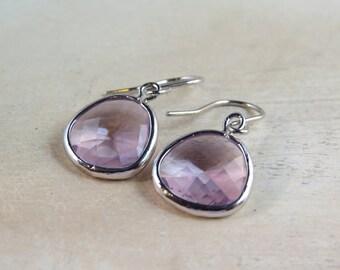 Wedding jewelry, bridesmaid earrings, lavender earrings, framed glass drop earrings, dangle earrings, anniversary gift