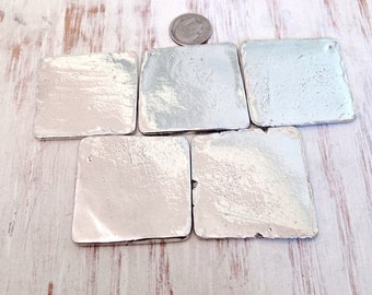 Pewter Stamping Blanks - Large Square  - Stampingblanks - Alternative to ( Brass Stamping - Aluminum Stamping - Copper Stamping )  (M144A)