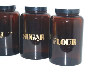 Amber Glass Containers with Gold Typography - Flour and Sugar Containers