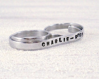Ultra Skinny Name Ring - Silver Two Finger Ring with your Name, Personalized Custom Ring
